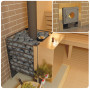 Печь-каменка для бани ЖАРА-ЛЮКС 30 сетка-дверца чугун 20-30м³, 8мм (встроенный парогенератор с воронкой,170кг)