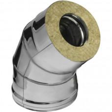 Колено из нерж/стали с термоиз в нерж/кожухе d=115/200х45° (толщ.0,5мм) AISI 430