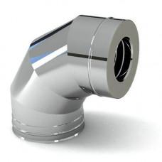 Колено из нерж/стали с термоиз в нерж/кожухе d=115/200х90° (толщ.0,5мм) AISI 430