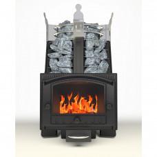 Печь каменка для бани Императрица Августа Стоун (Черный янтарь )дверца панорама (встроенный парогенератор рекомендованная масса камней-65кг)