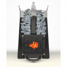 Печь каменка для бани Императрица Фредерика Стоун Стронг (Черный янтарь)дверца стекло(встроенный парогенератор,рекомендованная масса камней 75кг)