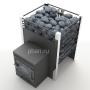 Печь-каменка для бани ЖАРА-ЛЮКС 20 сетка-дверца чугун 10-20м³, 8мм (встроенный парогенератор с воронкой,170кг)
