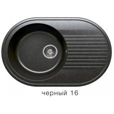 Мойка из искусств камня POLYGRAN F16 16 черная 755х500мм овал с крылом с сифоном