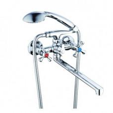 Смеситель для ванны ZEGOR керамика поворотный гусак 350 мм DAK7-A827