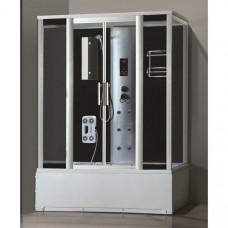 Гидробокс LORANTA CS-8701 160х85х215 гл/поддон прямоуг проф/серебро серое/стекло задн/ст черн/стекла