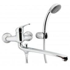 Смеситель Remer KISS K49-2 для ванны длинный гусак с переключением, душем и кронштейном