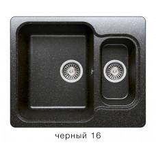 Мойка из искусств камня POLYGRAN F09 16 черная 610х500мм с фруктовницей с сифоном