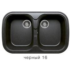 Мойка из искусственного камня POLYGRAN F150 16 черная 800х510мм 2ная с сифоном