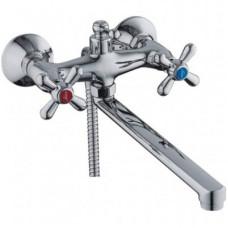 Смеситель для ванны LEDEME L2518 длинный гусак керамика (лейка,шланг) ручки крест
