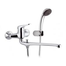 Смеситель Remer KISS K49 для ванны длинный гусак с душем и кронштейном
