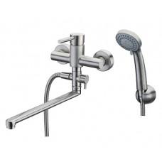 СмесительWasserkraft Wern 4202L  для ванны  с длинным изливом поворотным 350 мм мат хром