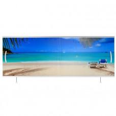 Экран под ванну ВладЭк Стандарт Плюс 1,50 (рама сталь, дверки ПП) УФ печать *пляж* арт11