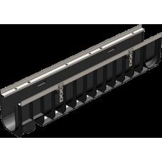 Лоток водоотводный Gidrolica Standart ЛВ10.14.5.18.5 Д100 ДЛ1,0м хШ145хВ185 пластик без решетки 802