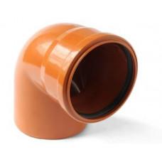 Колено наружное канализационное d=110х90*