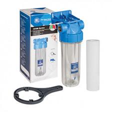 "Колба d=1/2"" 10"" прозр. FHPR12B1-AQ Aquafilter с кронштейном,клапаном, картриджем 5мк"
