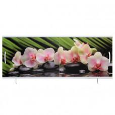 Экран под ванну ВладЭк Стандарт Плюс 1,50 (рама сталь, дверки ПП) УФ-печать *орхидея на камня* арт10