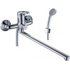 Смеситель  J35-32 для ванны ROSSINKA длинный гусак плоский 350 мм, с держателем на теле, хром