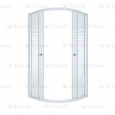Ширма душевая ТРИТОН СТАНДАРТ 100х100х174,5 (полукруг стекло *полосы*, на ср поддон)