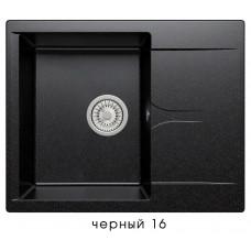 Мойка из искусств камня POLYGRANGALS-620 16 черная 620х500мм с крылом и сифоном